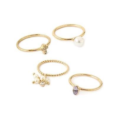[ジュエルボックス] JewelVOX リング パール ビジュー ストーン チェーン ツイスト 指輪 セットリング 【A】ゴールド 選択