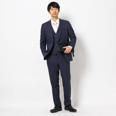 ザ ショップ ティーケーメンズ THE SHOP TK(Men) 【洗濯機OK】シャドーストライプ3ピーススーツ/結婚式、セレモニー、パーティー、ドレス、フォーマル (ネイビー)