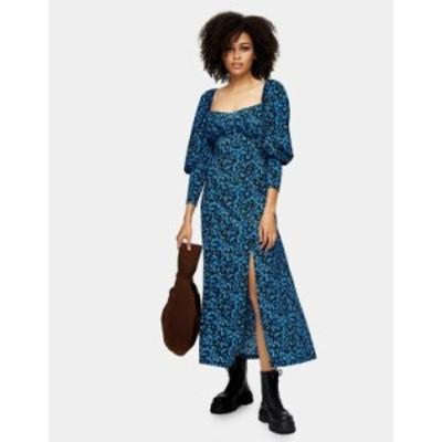 トップショップ レディース ワンピース トップス Topshop milkmaid midi dress in blue Blue