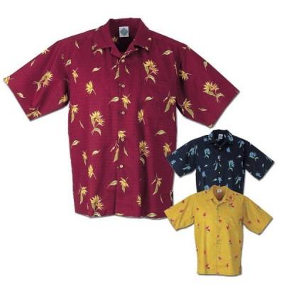 かりゆしウェア 沖縄アロハシャツ メンズ エメラルドアイランド ストレチア柄 父の日 敬老の日 プレゼント ギフト 結婚式
