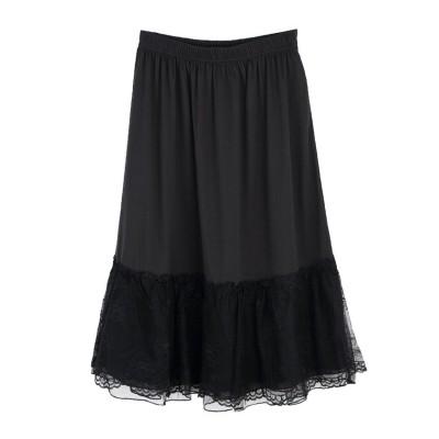 (axes femme/アクシーズファム)繊細レースミディ丈ペチスカート/レディース ブラック