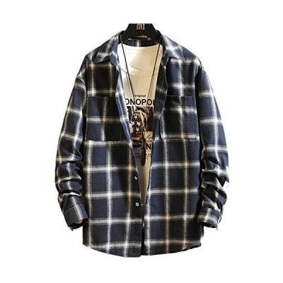 ギンガムチェックシャツ メンズ 長袖 チェック柄 折襟 ゆったり おしゃれ カジュアル 大きいサイズ Pinkpum S