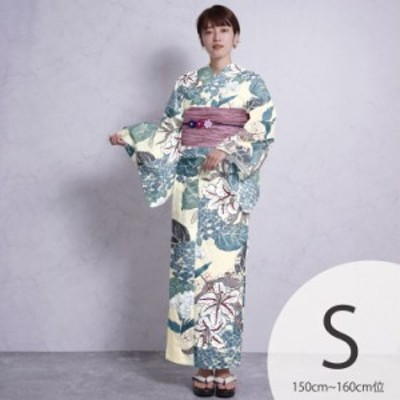 浴衣 セット レディース 浴衣 3点セット(浴衣/帯/下駄)日本製生地 国内染色 和歌山染工 クリーム 白 水色 青緑 グレー 赤 紫