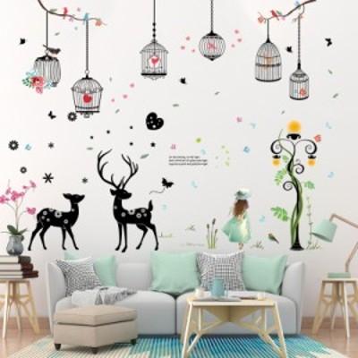 ウォールステッカー ウォールシール シール ステッカー 壁用ステッカー 装飾 壁装飾 鳥かご 鳥 女の子 英語 英字 鹿 蝶 木