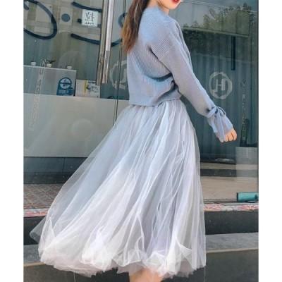 スカート レディース ゆるフェミ袖リボンニット+ゆるふわシフォンスカート セットアップ2点セット