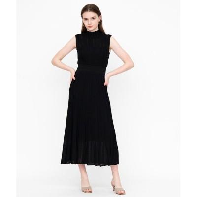 【アンドクチュール】 アイレットストライプノースリニットワンピース レディース ブラック M And Couture