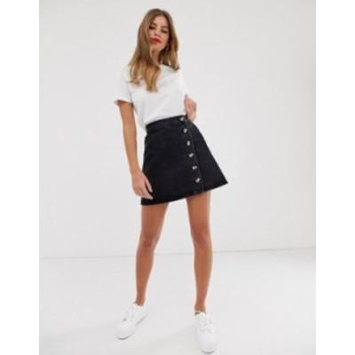 エイソス レディース スカート ボトムス ASOS DESIGN denim wrap skirt with buttons in recycled washed black Washed black