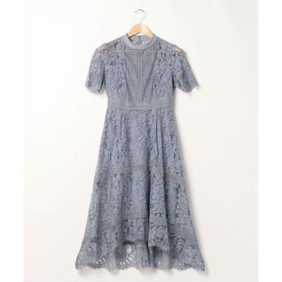 ドレス プチハイネック フラワーレース×ハシゴレース切り替え ワンピースドレス / 結婚式ワンピース・お呼ばれパーティードレス