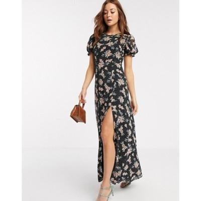 リバーアイランド レディース ワンピース トップス River Island short sleeve chiffon floral maxi dress in black