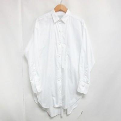 【中古】ハーヴェル スタジオ HAVEL studio ロングシャツ ワンピース 長袖 スリット ホワイト 38 0419  レディース