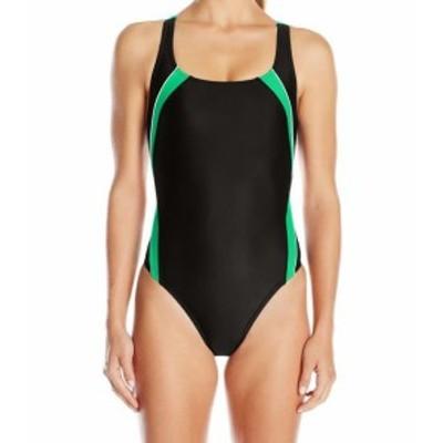 speedo スピード スポーツ用品 スイミング Speedo Black Green Womens Size 14 One-Piece Cutout Colorblocked Swimwear #230