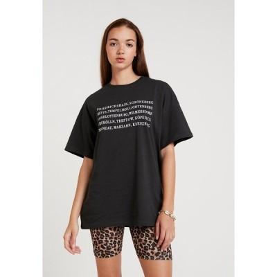エブンアンドオッド Tシャツ レディース トップス Print T-shirt - anthracite