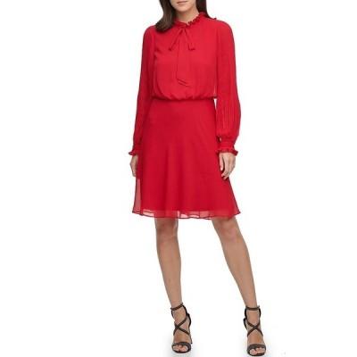 ダナ キャラン ニューヨーク レディース ワンピース トップス Ruffle Neck Long Sleeve Blouson Chiffon Dress Scarlet