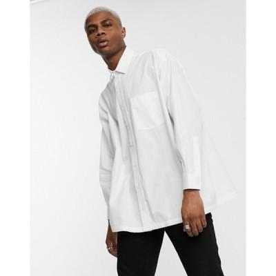 エイソス メンズ シャツ トップス ASOS DESIGN oversized boxy poplin shirt in white