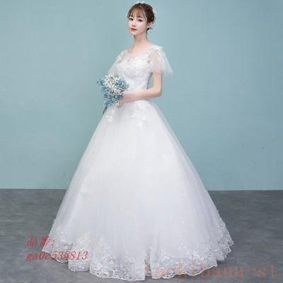 ウェディングドレスウェディングドレス白パーティードレスパフスリーブ可愛いレース花嫁ロングドレスウェディング挙式結婚式二次会謝恩会