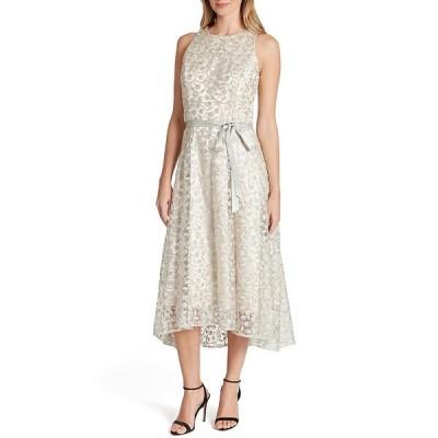 タハリエーエスエル  レディース ワンピース トップス Embroidered Lace Sleeveless Hi-Low Midi Dress Taupe Silver