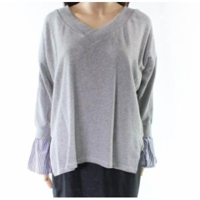 bell ベル ファッション トップス RDI NEW Gray Pinstripe Bell Sleeve Womens XL Two-Fer V-Neck Sweater