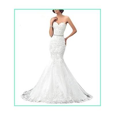 OYISHA Womens Strapless Mermaid Wedding Dress for Bride 2020 Lace Bridal Dresses Long Size 14 White並行輸入品