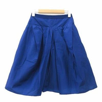 【中古】カルヴェン CARVEN ナイロン スカート ひざ丈 フレア フロントタック 国内正規 34 Sサイズ ブルー レディース
