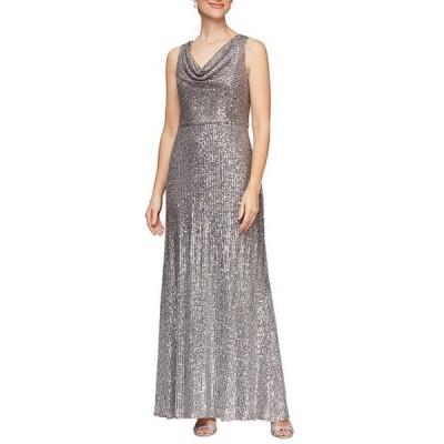アレックスイブニングス レディース ワンピース トップス Ombre Stretch Sequin Sleeveless Cowl Neck Gown