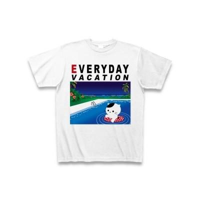 猫は毎日バケーション♪(DAY) Tシャツ(ホワイト)