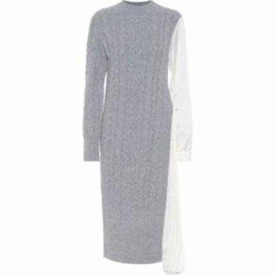 サカイ Sacai レディース ワンピース ミドル丈 ワンピース・ドレス Cable-Knit Wool And Satin Midi Dress L/Gray Ecru