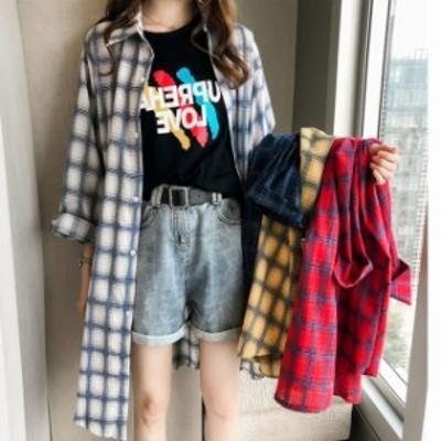 大きいサイズ レディス チェック柄シャツ チェック柄 オーバーサイズチェックシャツ レディスシャツ ミディアム丈シャツ