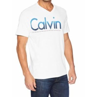 Calvin Klein カルバンクライン ファッション トップス Calvin Klein Mens White Size Large L Short Sleeve V Neck T-Shirt