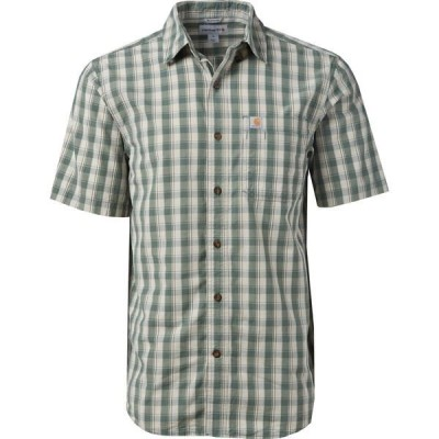 カーハート シャツ トップス メンズ Carhartt Men's Relaxed Fit Plaid Button Down Shirt Musk Green