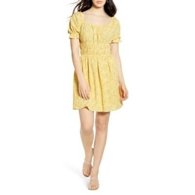 ワンクロージング レディース ワンピース トップス Shirred Waist Floral Minidress YELLOW