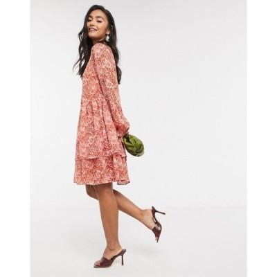 ワイエーエス レディース ワンピース トップス Y.A.S smock dress with tie neck in red paisley floral
