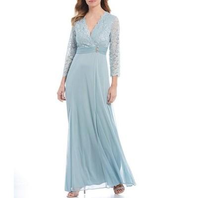 マリナ レディース ワンピース トップス Glitter Lace Bodice 3/4 Sleeve Gown