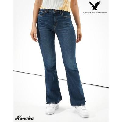 アメリカンイーグル フレアジーンズ デニム パンツ レディース ストレッチ ブルー 大きいサイズあり