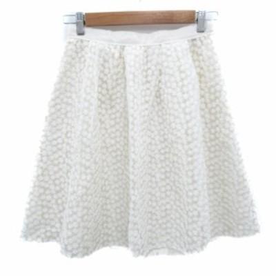 【中古】イノウェーブ innowave スカート フレア ひざ丈 刺繍 花柄 M 白 ホワイト /FF46 レディース