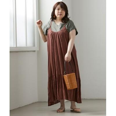大きいサイズ クリンクルキャミソールワンピース ,スマイルランド, ワンピース, plus size dress