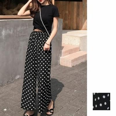 韓国 ファッション レディース セットアップ 春 夏 カジュアル 【即納】naloF278  クロスデザイン ショート Tシャツ シフォン ワイドスト