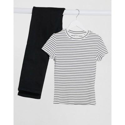 モンキ レディース Tシャツ トップス Monki Magdalena organic cotton stripe t-shirt in white Stripe