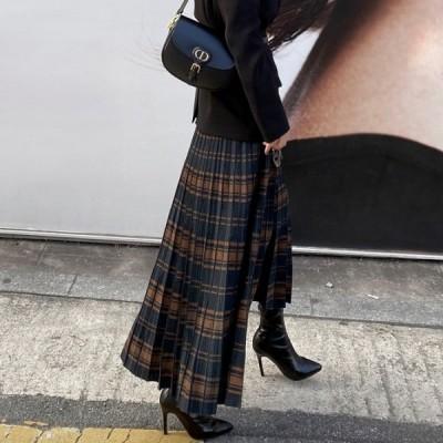 プリーツスカート ニット チェック 韓国 ドラマチック 暖か