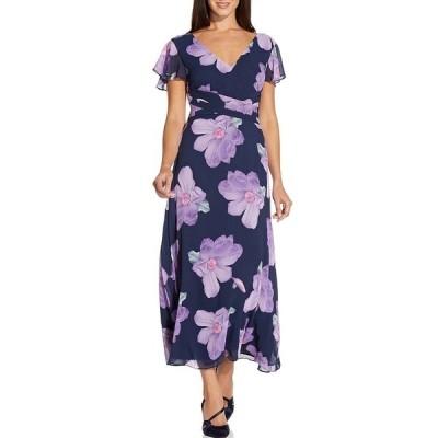 アドリアナ パペル レディース ワンピース トップス Floral Printed Chiffon Tie Waist Midi Dress Navy Multi