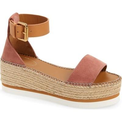 クロエ SEE BY CHLOE レディース エスパドリーユ サンダル・ミュール シューズ・靴 Glyn Platform Espadrille Sandal Dark Pink