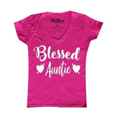 レディース 衣類 トップス Shop4Ever Women's Blessed Auntie Slim Fit V-Neck T-Shirt Tシャツ