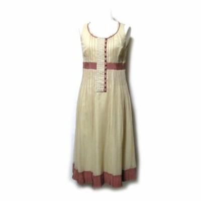 美品 cacharel キャシャレル「34」シルクオーガンジーワンピース (ベージュ ドレス ピンク 半袖) 118891 【中古】