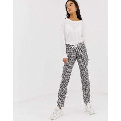 エイソス レディース デニムパンツ ボトムス ASOS DESIGN Florence authentic straight leg jeans in mono gingham print with wrap waistband