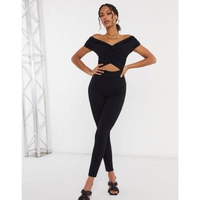 エイソス ASOS DESIGN レディース オールインワン ジャンプスーツ ユニタード ワンピース・ドレス Off Shoulder Unitard Jumpsuit In Black ブラック