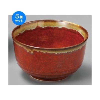 5個セット ☆ 丼 ☆ 朱赤茶流し5.0多用丼 [ 144 x 85mm ] 【料亭 居酒屋 和食器 飲食店 業務用 】