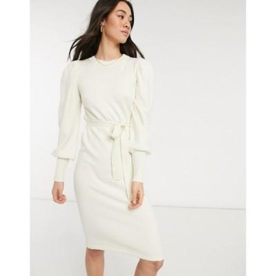 ヴェロモーダ レディース ワンピース トップス Vero Moda knitted midi dress with tie waist in cream