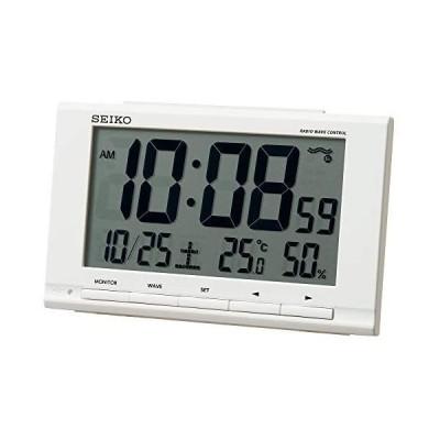 セイコークロック(Seiko Clock) 置き時計 白 本体サイズ:9.1×14.8×4.7cm 目覚まし時計 電波 デジタル