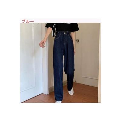 【送料無料】夏 韓国風 ハイウエスト 女性のジーンズ 着やせ ショー 縦 ワイドパン | 346770_A63426-2660929