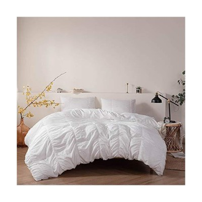 EAVD Seersucker Duvet Cover White Solid Color Duvet Cover King Soft Comfy 100% Microfiber Bedding Set with 2 Pillowcases Modern Style Seersu