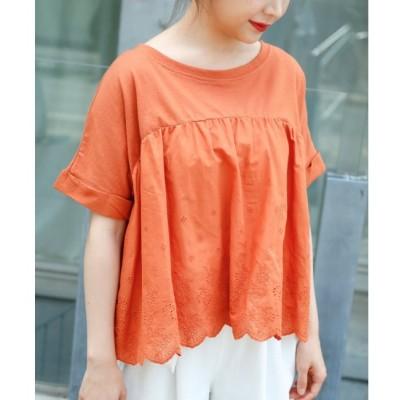 【レイカズン/RAY CASSIN】 スカラップ刺繍Tシャツ